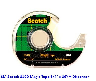 "Supplier ATK Scotch 3M 810D Magic Tape 3/4"" x 36Y + Dispenser Harga Grosir"
