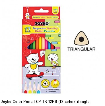 Supplier ATK Joyko Pensil Warna CP-TR-12PB (12 Warna) Triangle Harga Grosir