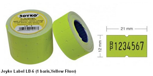 Supplier ATK Joyko Label LB-6 (1 Baris, Kuning Fluor) Harga Grosir
